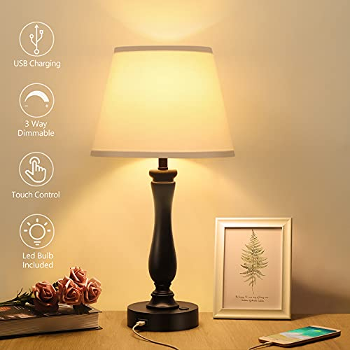 Touch Control Table Lamp Dimmable Bedside Lamp with USB Charging Port, Boncoo...