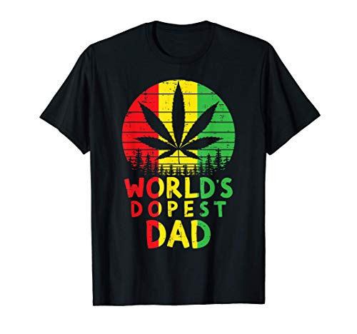 Mens Worlds Dopest Dad Rasta Jamaican Weed Cannabis Stoner Gift T-Shirt