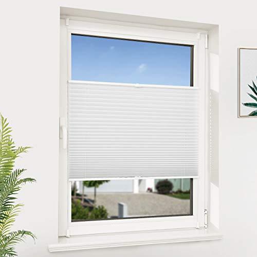 NoCon Plissee Klemmfix ohne Bohren Faltrollo Balkontür Lichtdurchlässig Easyfix Jalousie Sonnenschutz- und Sichtschutz, 65x120cm (BxH) Weiss
