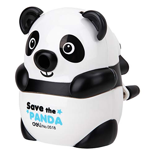 Deli Manual Pencil Sharpener, Hand held Pencil Sharpeners for Kids & Students, Panda