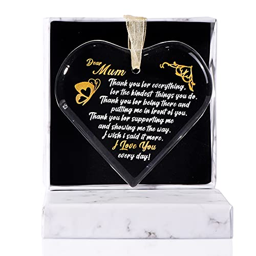 movdyka Gifts for Mum Birthday from Daughter K9 Crystal Heart Hanging Plaque, Etching with Gold Love Sayings for Mother…