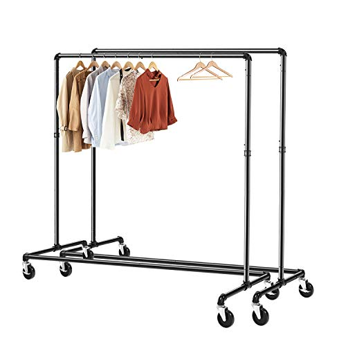 Greenstell Clothes Rack, Industrial Pipe Clothing Garment Rack on Wheels with Brakes, Commercial Grade Heavy Duty Sturdy Metal Rolling Clothing Coat Rack Holder 2 Packs (59x24x63 inch)