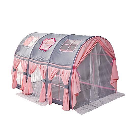 Play House Cama con Dosel Dream Kids Play Tents, Playhouse Privacy Space Niños Niñas Carpa de Cama con Cortinas Portátiles para Niños Pequeños, Rosa