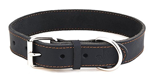 Reopet Leather Dog Collar - Black Full Grain Latigo Leather, Soft & Durable - Best Geniune Leather Dog Collar for Medium & Large Dogs - 1.0' 15-19'