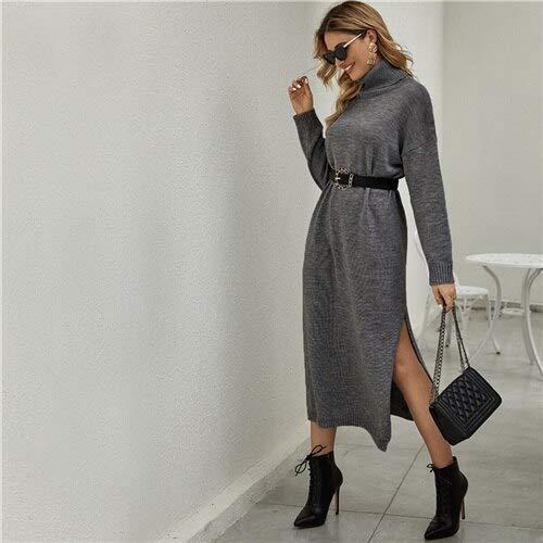 GMZA grijze vaste trechterhals-druppel-schouder pullover-jurk zonder riem vrouwen lente hoge street split hem casual lange jurken