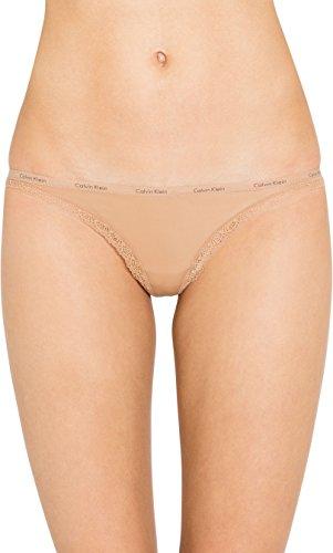Calvin Klein Women's Bottoms Up Thong, Dark Beige, Medium