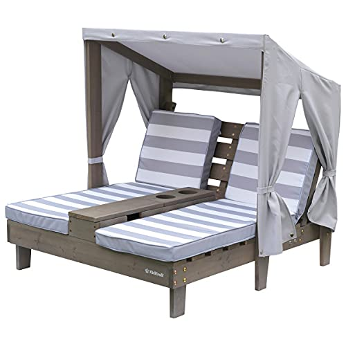 KidKraft Outdoor Double Chaise Lounge with Cup Holders Gray