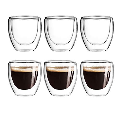 [6-Pack,2.5 Oz] Espresso Cups,Nespresso Shot Glasses,Glass Coffee Mugs,Double Wall Coffee Mug,Clear Coffee Mug,Glass Tea Cup,Insulated Glasses,Dishwasher Safe,Suit for Nespresso Machine