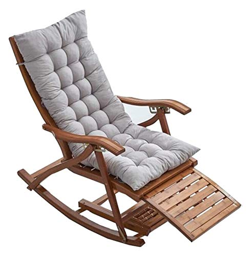 MTCWD Sillas de Camping Silla de jardín Plegable de bambú doblado Loungers reclinable de 5 velocidades Ajustable Mecedora (Color : Wood Color+Khaki Cotton Pad)