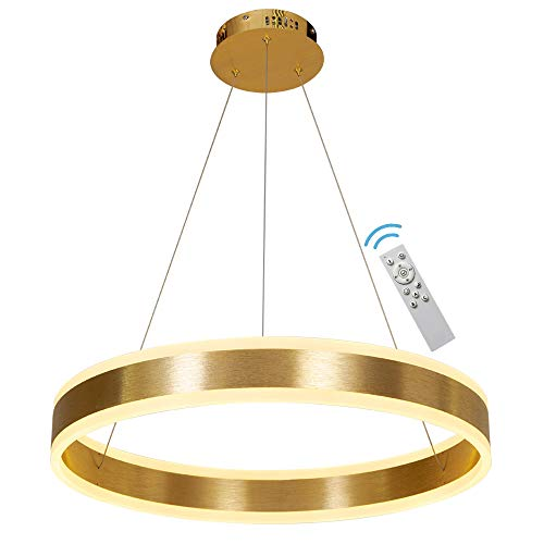 Modern Chandelier Led Dimmable Gold Hanging Pendent Light Fixture 23.6' 1 Ring Contemporary Chandeliers Office Lighting with Remote for Kitchen Foyer Living Room Meenyo