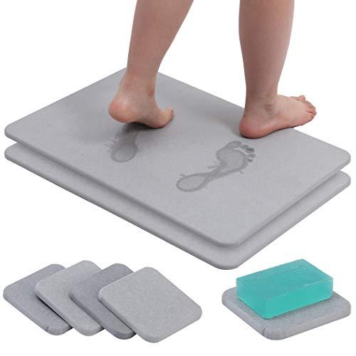 Diatomaceous Earth Bath Mat Diatomite Fast Water Drying Diatom Mud Foot Pad Bathroom Floor Mats(Grey)