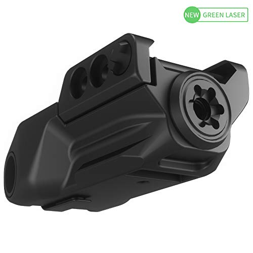 Laspur Sub Compact Tactical Rail Mount Low Profile Green Laser Sight, Build-in Rechargeable Battery for Pistol Rifle Handgun Gun (Sensor swith)
