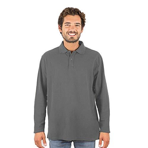 Polo Manga Larga Hombre Algodón con Botón - Shirt Camiseta Camisa Estilo Polos Regular Casual Color Liso Long-Sleeve Cuello Redondo Basico Esencial Original