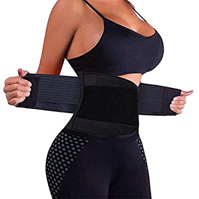 VENUZOR Waist Trainer Belt for Women - Waist Cincher Trimmer - Slimming Body Shaper Belt - Sport Girdle Belt (UP Graded)(Black,Medium)