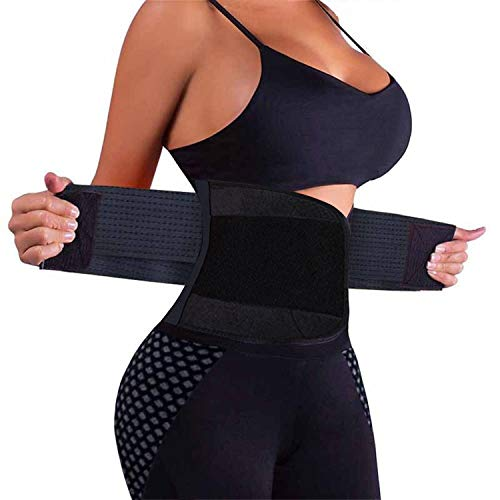 VENUZOR Waist Trainer Belt for Women - Waist Cincher Trimmer - Slimming Body Shaper Belt - Sport Girdle Belt (UP Graded)(Black,Small)