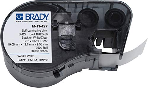 Brady - 143252 Self-Laminating Vinyl Label Tape (M-11-427) - Black on White, Translucent Tape - Compatible with BMP41, BMP51, and BMP53 Label Makers - .75 Height, .5 Width