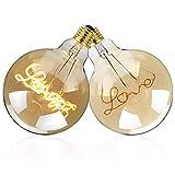 Vintage Edison Light Bulb LED 'Love' Bulb Globe Round Bulb 4W 110V E27 Decorative Light Bulbs for Loft Coffee Bar Restaurant