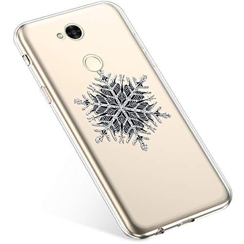 Kompatibel mit Handyhülle Weihnachten Sony Xperia XA2 Ultra TPU Silikon Schutzhülle Weich Transparent Kristall Klar Dünn Handyhülle Backcover TPU Bumper Case Handytasche,Schneeflocken Baum