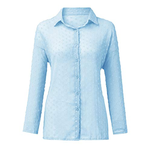 Find Bargain Lovor Women's Button Down V Neck Shirts Long Sleeve Blouse Solid Casual Loose Soft Tops...