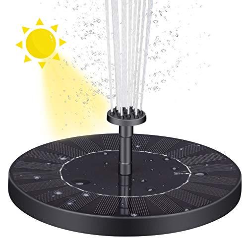 VITCOCO Solar Springbrunnen 2.5W Solar Teichpumpe Springbrunnen mit Akku mit 6 Effekte für Teich, Vogel-Bad, Fisch-Behälter, Kleiner Teich, Garten