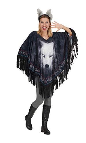 Andrea Moden 772 - Kostuumwolf met haarband, eenheidsmaat voor volwassenen, poncho, sprei, dier, indianen, motto party, carnaval