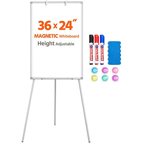 Yaheetech Easel Style Whiteboard 36x24 Inches Tripod Whiteboard Magnetic Erase Board/Flipchart Easel Whiteboard Easel Style Height Adjustable Stand Board White