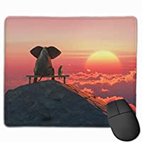 マウスパッド 象と犬は山の上に座る ゲーミングマウスパット 最適 高級感 おしゃれ 防水 耐久性が良い 滑り止めゴム底 ゲーミングなど適用 マウスの精密度を上がる( 25*30 Cm )
