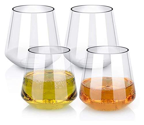 AMDHZ Cristal de Vidrio de Whisky, Vidrio de Moda Antiguas de Moda Rocas Pesadas Barras de Barras para Scotch, Bourbon y Bebidas de cóctel, Juego de 450 ml de 4 Decantador de Whisky
