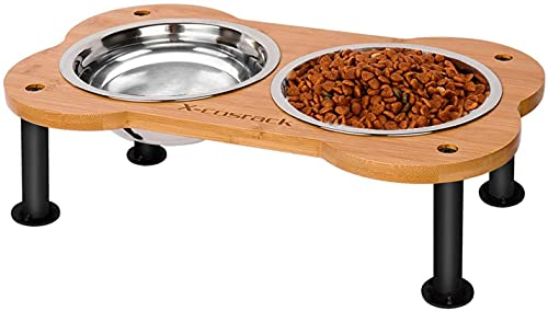Ciotole per cani elevate, a forma di osso, in bambù rialzato, per animali domestici, per cani e gatti, mangiatoia per animali domestici con 2 ciotole in acciaio inox 304