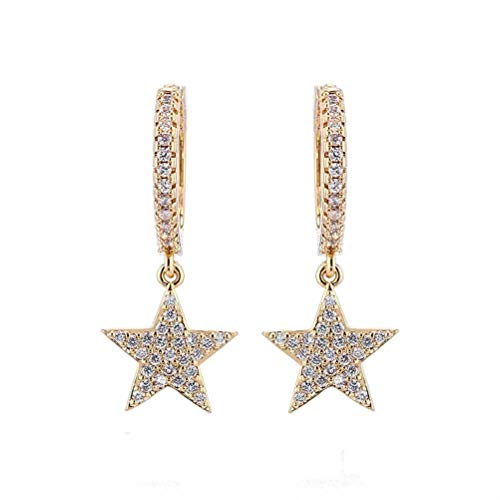 ZAIZAI Pendientes de aro de oro de cristal para mujeres y niñas (color: dorado)