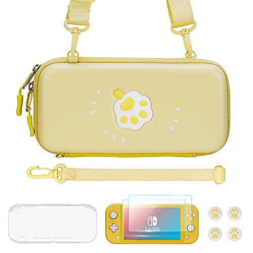 JINGDU Carrying Case for Nintendo Switch Lite, Cute Accessories Kit Compatible with Switch Lite for girls, Include Screen Protector, Thumb Grip, Protective Case, Straps, 3D Cat Paw Storage Bag, Yellow