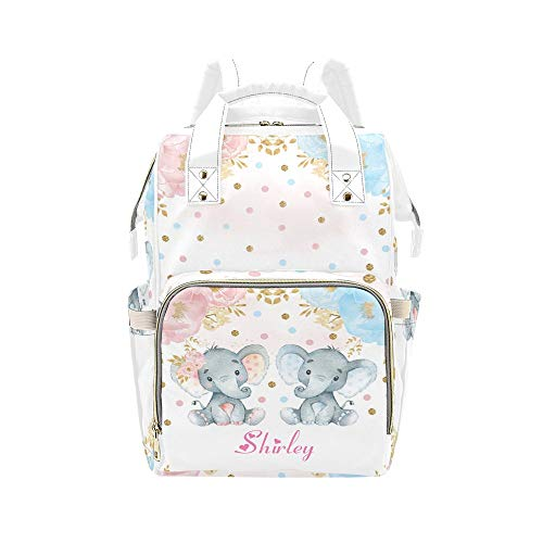 Personalized Twin Elephant Flower Diaper Bag with Name Nappy Bags Travel Shoulder Casual Daypack Waterproof Mummy Backpack for Mom Girl Traveling Hiking Gift