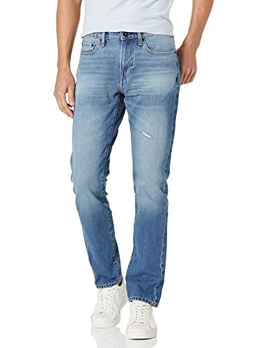 Amazon Brand - Goodthreads Men's Comfort Stretch Slim-Fit Jean, Light Blue Destroy, 32W x 33L