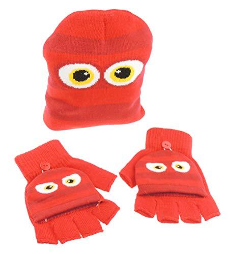 Zachte Meisjes Jongens Warm Winter Fijn Knit Beanie Cap Hoed & Handschoenen Monster Een Maat 3-7 Years Rood