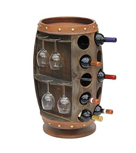 DanDiBo Weinregal Holz Braun 360° Drehbar Weinfass 71 cm 9205-R Bar Flaschenregal Flaschenständer Fass Holzfass Weinschrank