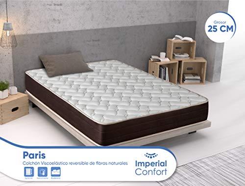 Imperial Confort Paris - Colchón Viscoelástico de fibras naturales - Transpirable y doble cara (invierno/verano) - Grosor 25 cm - 135x190