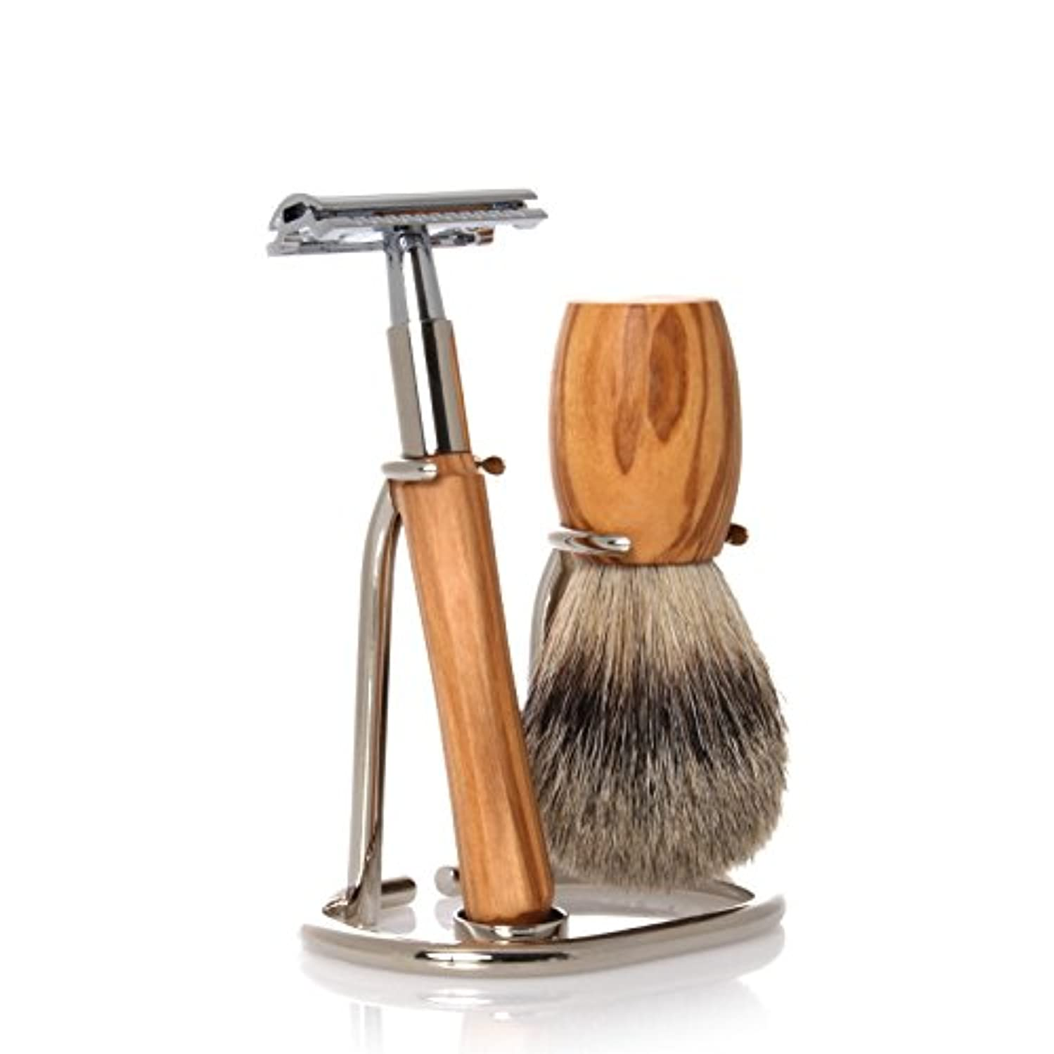 進化傾く性差別GOLDDACHS Shaving Set, Safety razor, Finest Badger, olive wood