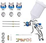 Kacsoo Pistola de pulverización de aire HVLP con 3 boquillas de pulverización, 1,4 mm, 1,7 mm, 2,0 mm, 600 cc, kit de herramientas de pintura de aerógrafo para vallas, techos, paredes, suelos (azul)