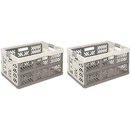 2x Profi-pliante TÜV multifonctionnel. 45l jusqu'à 50kg Crème Caisse pliable boîte en plastique Boîte Caisse de transport Panier à provisions