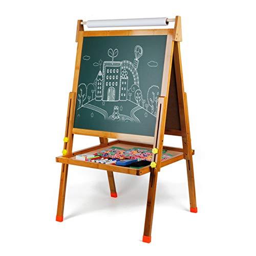 WyaengHai Kid's Holz Kunst Staffelei Doppelseitige Staffelei Für Kinder Whiteboard & Chalkboardwith Einstellbarer Stand (Farbe : Natural, Size : 90-121x55x53cm)