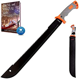 18,5 Inch Serrated blade Machete with Nylon Sheath - Saw Blade Machetes with Non-Slip Rubber Handle - Best Brush… 1 New outdoor experience: Grand Way survival black machete with sheath will be your best friend on any adventure! Tactical machete is not only a brush clearing knife, but also is a survival tool that will be indispensable while: Hunting, Hiking, Camping, Fishing, Gardening. Can be used for home & outdoor needs; High Quality Multi Functional Machetes: our survival knife is made from 440C serrated stainless steel, which provides super sharp cutting performance and high durability, while the saw handle of machette is covered with the rubber for comfortable and continuous usage; Always near when you need it: this solid and practical holder allows you to wear the Brush Clearing machete on your belt safely. The multifunctional sheath is made of heavy duty nylon cordura fabric;