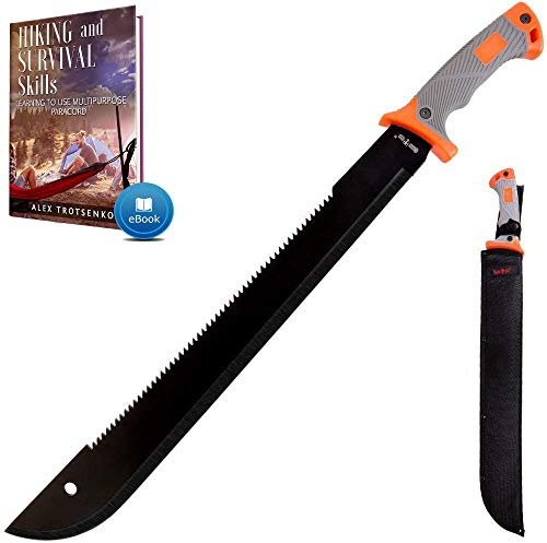 18,5 Inch Serrated blade Machete with Nylon Sheath - Saw Blade Machetes with Non-Slip Rubber Handle - Best Brush Clearing Tool - Comes with Survival E...