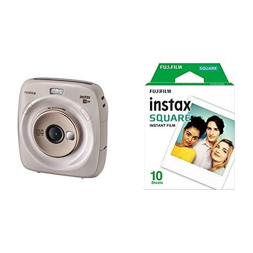 Fujifilm instax Square SQ 20 Hybride Sofortbildkamera, beige & Square WW 1 Film, Weiß