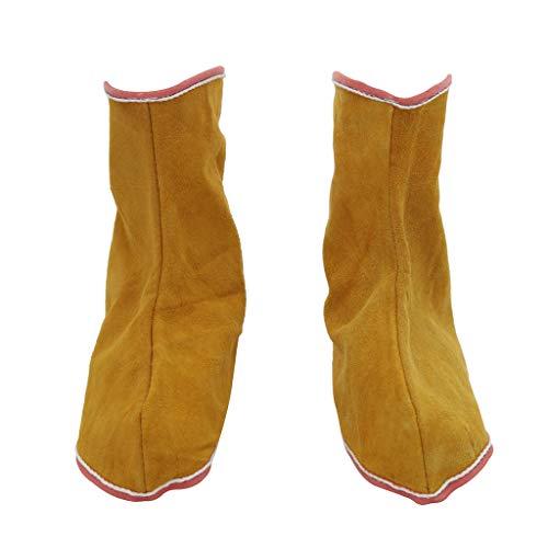 SDENSHI 1 Par de Polainas de Cuero para Soldar Zapatos Protectores de Soldadura para Soldador de Cubierta de Pies