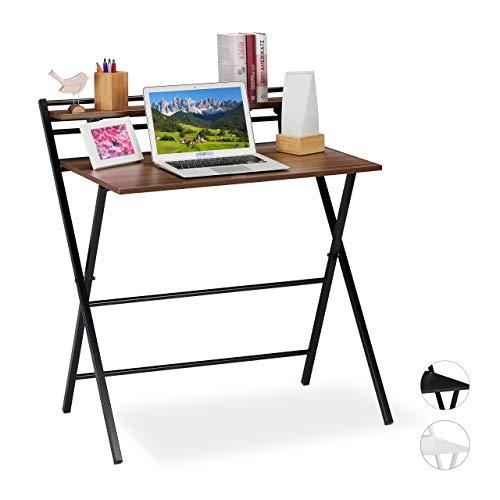 Relaxdays Schreibtisch klappbar, platzsparender Bürotisch, Ablage, Home Office, Jugendzimmer, 92x84x60 cm, braun/schwarz, PB, Eisen, 92 x 84 x 60 cm
