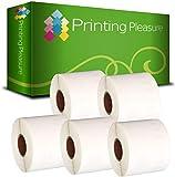 Printing Pleasure 5 x 99014 Cinta para impresoras de Etiquetas Compatible con Dymo LabelWriter & Seiko | 54mm x 101mm | 220 Etiquetas por Rollo