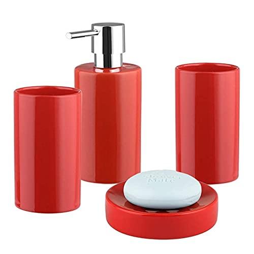 AWJ Juego de Accesorios de baño Juego de Accesorios de baño cilíndricos Simples de Cuatro Piezas Suministros de baño de cerámica creativos para el hogar Accesorios de baño