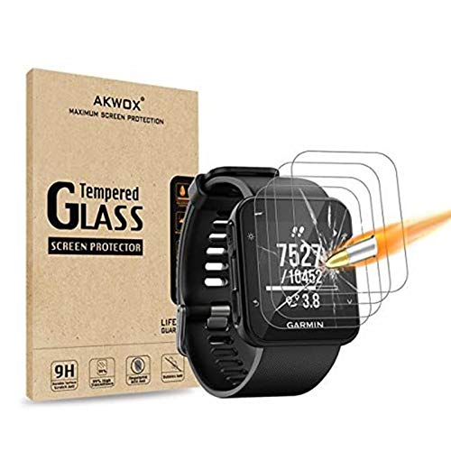 (Pack of 4) Compatible with for Garmin Forerunner 35 Screen Protector, Akwox [0.3mm 2.5D High Definition 9H] [Anti-Bubble]Tempered Glass Screen Protector for Garmin Forerunner 35