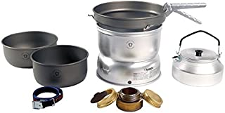 Trangia - 25-8 Ultralight Hard Anodized Camping Cookset With Gas Burner| Includes: Gas Stove, 2 HA Pots, HA Frypan, Kettle, Upper & Lower Windshield, Pot Gripper, & Strap