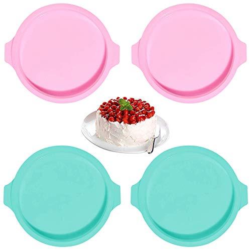 Moldes de silicona para pasteles, 4 piezas de 8 pulgadas, juego de moldes para pasteles redondos de silicona, moldes para pasteles arcoíris, moldes para pasteles, bandejas para hornear, moldes para pi